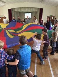 Children playing parachute games