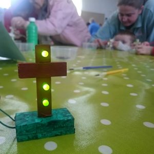 A light up cross made at messy church